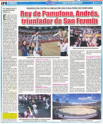 Diario El men, Lima, Peru Lunes 2018-07-16 Pagina Taurina