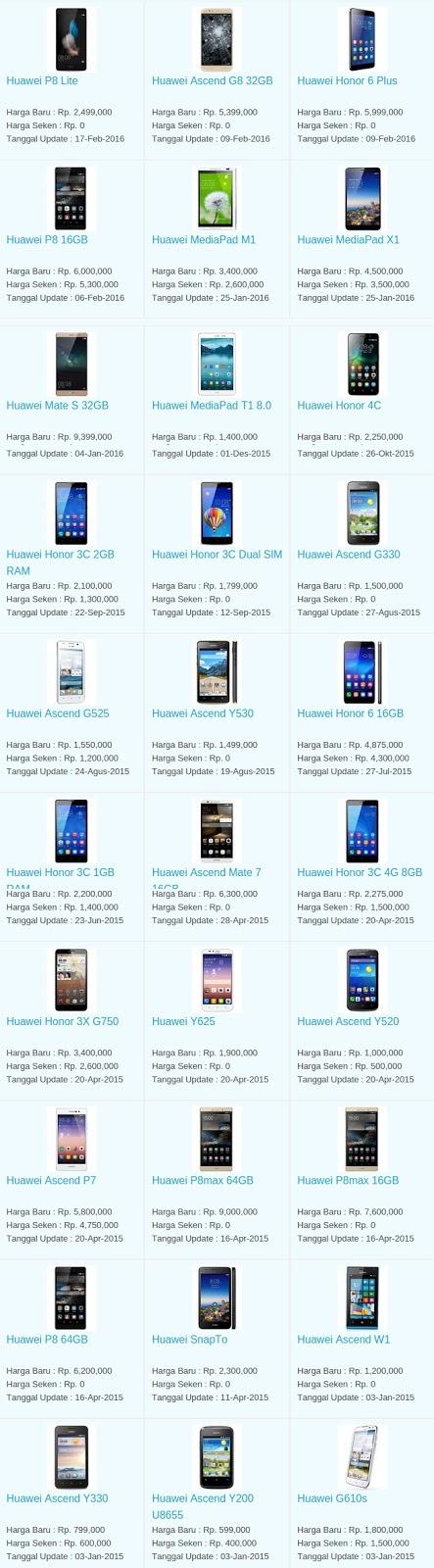 Daftar Harga Terbaru Hp Huawei Maret 2016