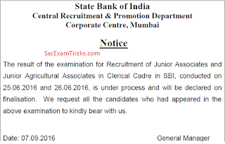 sbi clerk mains result notice