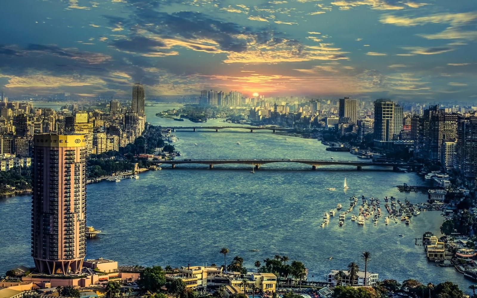 خلفية منظر الغروب من كوبري قصر النيل مصر  للموبيل والكمبيوتر والايفون 2020