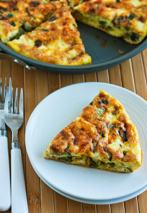Three Cheese Zucchini Frittata with Mozzarella, Feta, and Parmesan found on KalynsKitchen.com