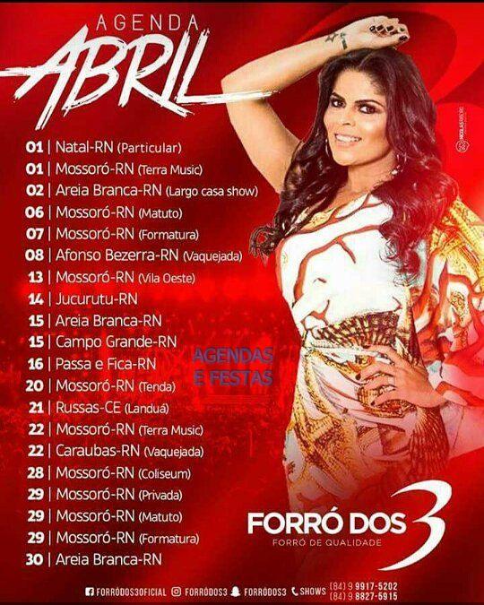 AGENDA ABRIL FORRÓ DOS 3