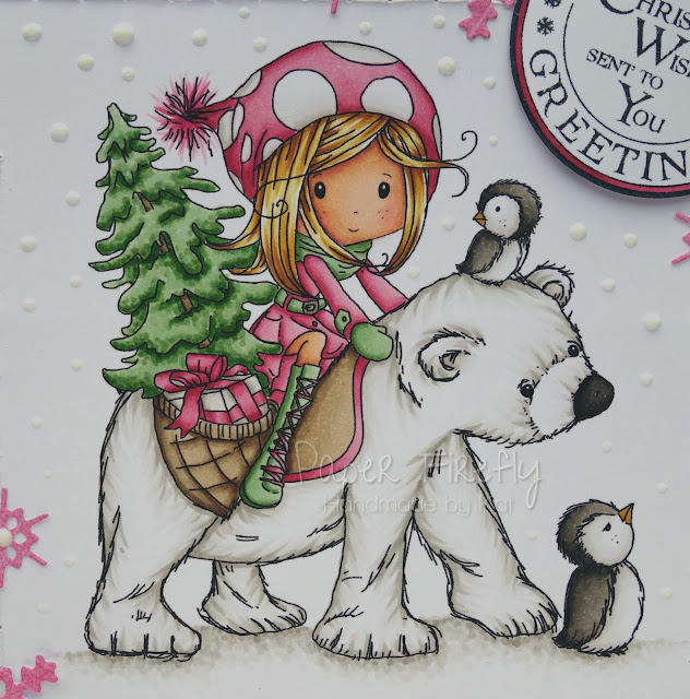 Pink Christmas card with girl on polar bear (image is Winnie Winterland Polar Friends by Polkadoodles)