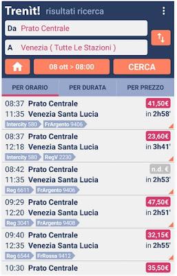APP ANDROID PER RICERCARE ORARI E PREZZI DEI TRENI IN ITALIA