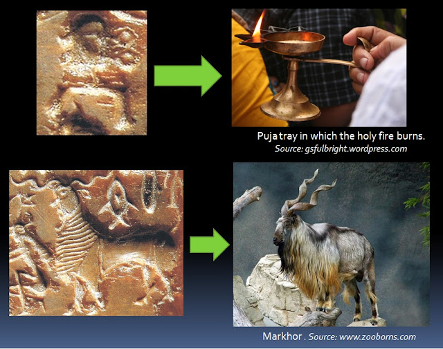Depictions of the tray in which the holy fire burns and the markhor on Mohenjo-Daro Seal No.430.