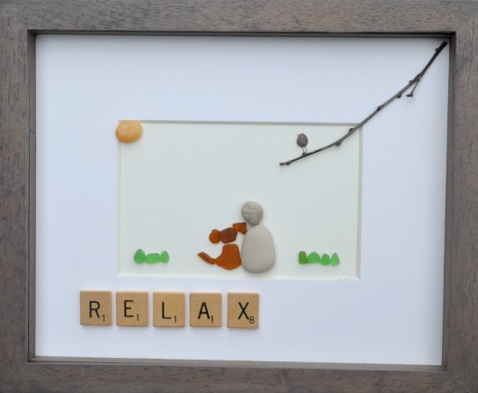 Beach Pebble Scrabble Art
