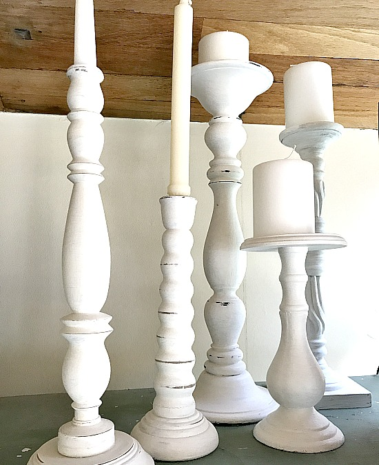DIY white candle sticks
