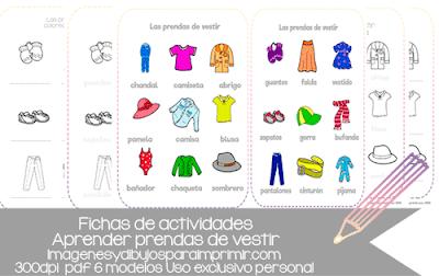 Ejercicios para aprender las prendas de vestir