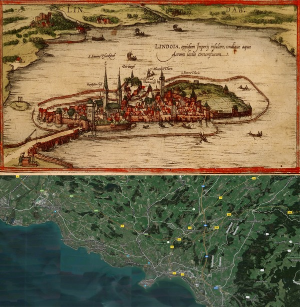 Lindau Germany Map.Old Cities Lindau Germany Map Then 1572 And Now 2016