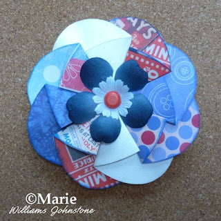 4th july red white blue paper flower rosette card making scrapbooking