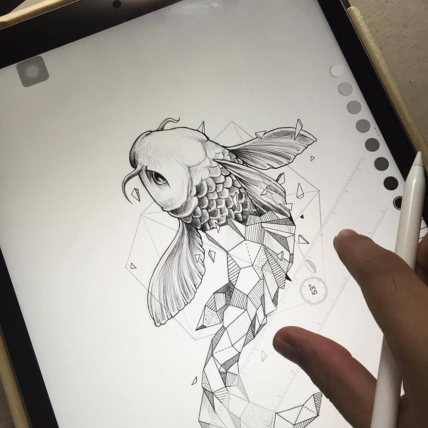 03-Koi-Carp-Fish-Kerby-Rosanes-Geometry-Coupled-with-Detailed-Drawings-of-Animals-www-designstack-co