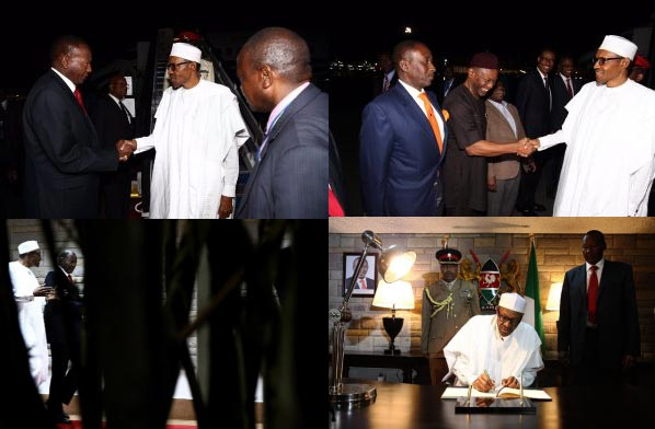 See how president Buhari was received in Kenya