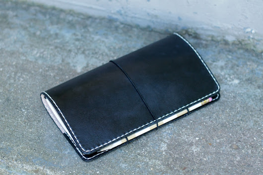 Black Fauxdori with White Stitching and Elastic Pen/Pencil Holder