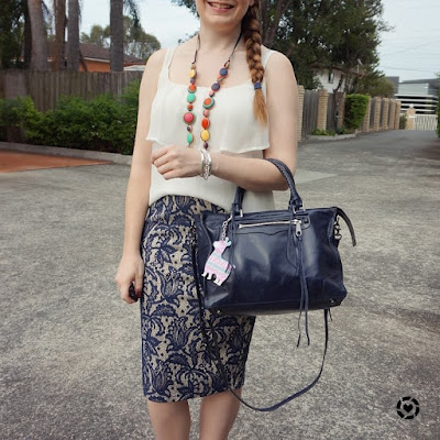 awayfromblue instagram | summer pleated ruffle cami and lace pencil skirt outfit with navy tote bag