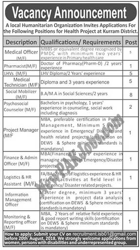 Private Jobs Medical Officer, Pharmacist, finance and Admin & Other