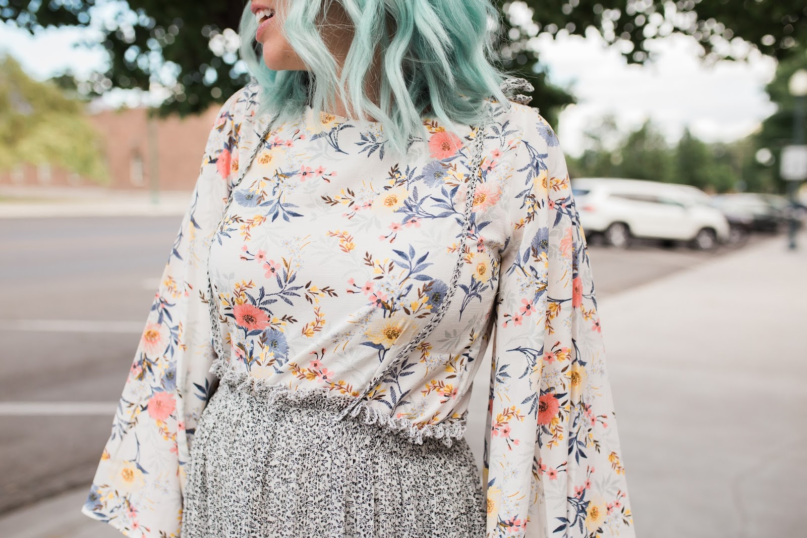Floral Shirt, Blue Hair, Fashion
