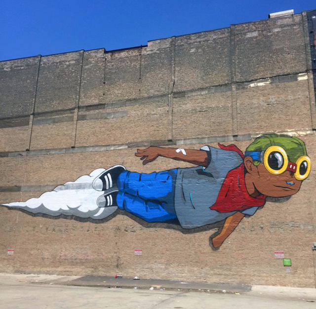 """Just before the opening of his solo exhibition """"Memoirs of the Minimum Wage"""" at Vertical Gallery, Hebru Brantley wrapped up a massive new piece on the sunny streets of Chicago, USA."""