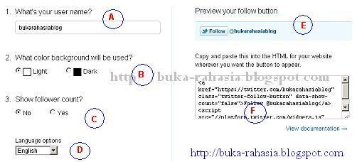 cara pasang follow button