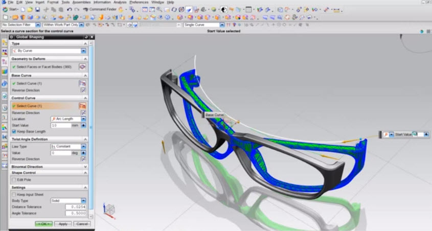 How to use the command in the Global Shaping NX 8 5 eyeglass