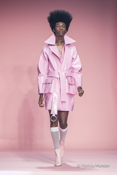 Pink latex trenchcoat by TRINBECX at Amsterdam Fashion Week