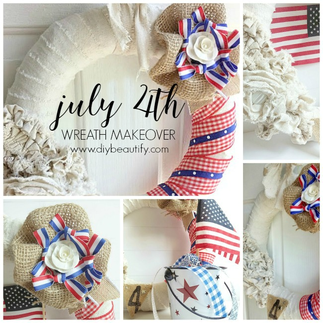 Wow, this wreath got a mini makeover for July 4th and it's stunning! I saved storage space in my home by repurposing what I already had! To see how I made this wreath, visit diy beautify.
