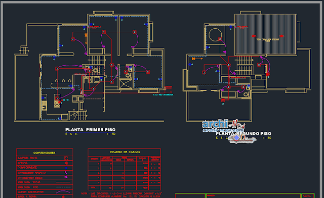 One family housing rural in AutoCAD