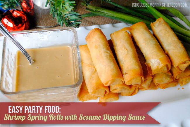 Easy Holiday Appetizers: Shrimp Spring Rolls with Sesame Dipping Sauce #PakTheParty #shop #cbias