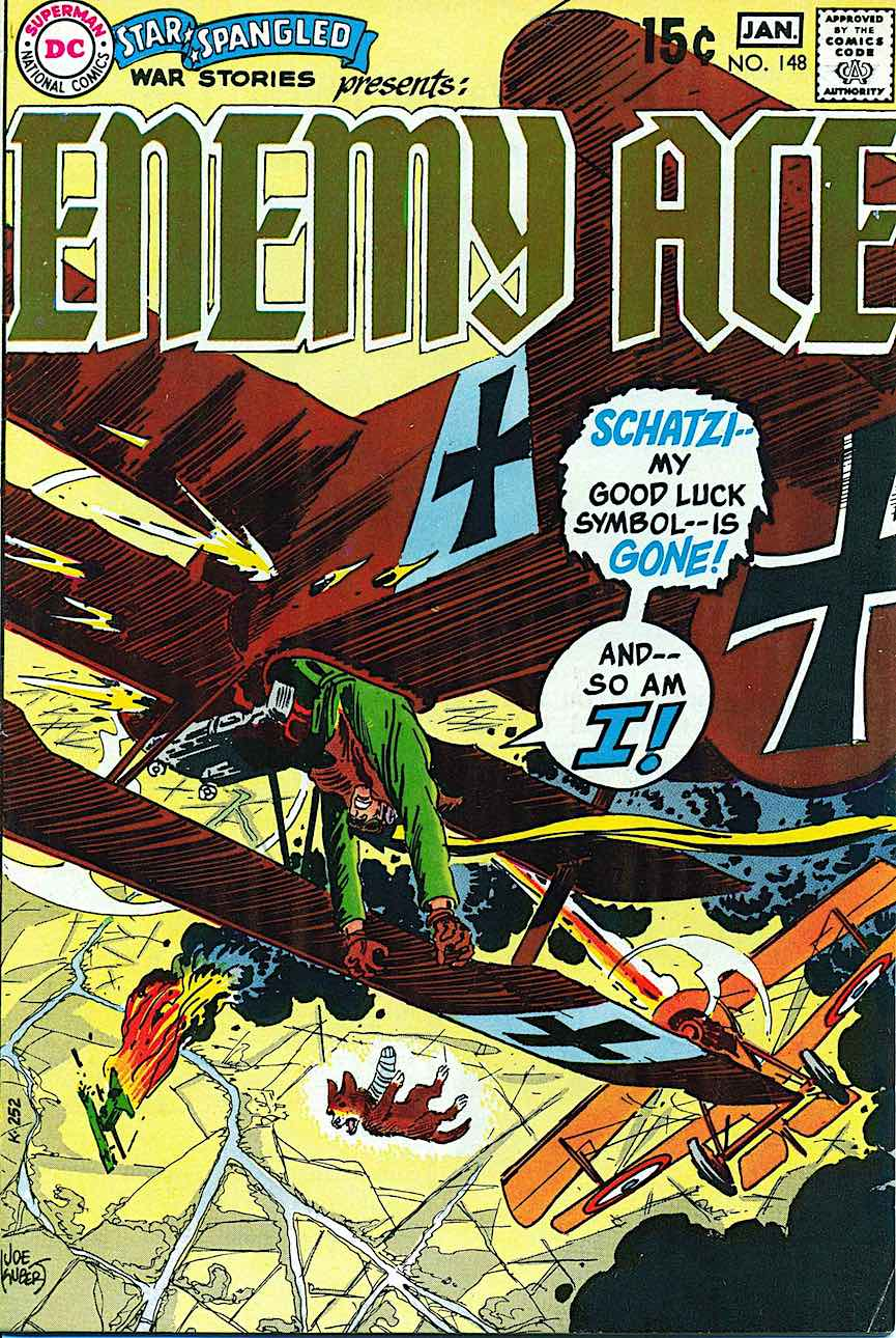 Joe Kubert comic book cover art, Enemy Ace Jan. 1969 No. 148, dogfighting pilots