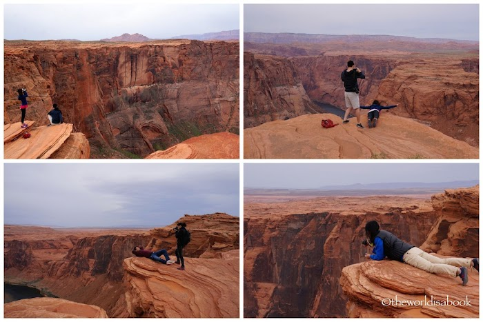 Visitor insisted to take the picture from a higher ledge horseshoe bend arizona