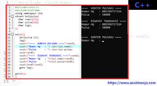 Contoh Program Kasir Jual Pulsa C++ Dengan Struct Dinamis