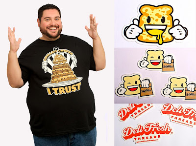 Deli Fresh Threads Inaugural T-Shirt Collection - In Grilled Cheese I Trust T-Shirt, Grilled Cheese Biggie Bread Sticker, Biggie Bread with Bag Sticker & Deli Fresh Threads Sticker