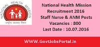 National Health Mission Recruitment 2016 for 800 Staff Nurse & ANM Posts Apply Online Here