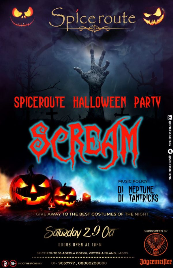 "the city of Lagos is set to experience a Halloween party like no other.   ""The Spice Route Halloween Party"" themed SCREAM"