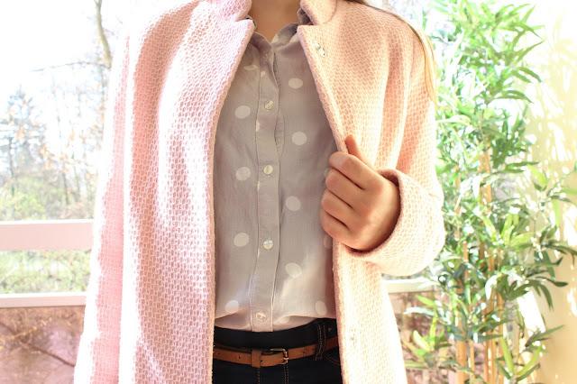 manteau rose poudré nid d'abeille