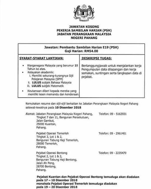 Iklan Jawatan kosong (RASMI) di Jabatan Perangkaan Malaysia Negeri Pahang