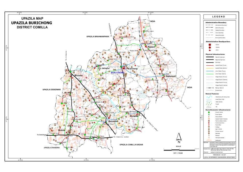 Burichang Upazila Map Comilla District Bangladesh
