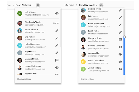 A simpler way to view teammates and sharing settings in Google Drive shared folders