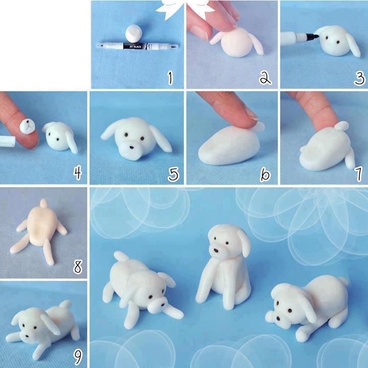perro en porcelana fría
