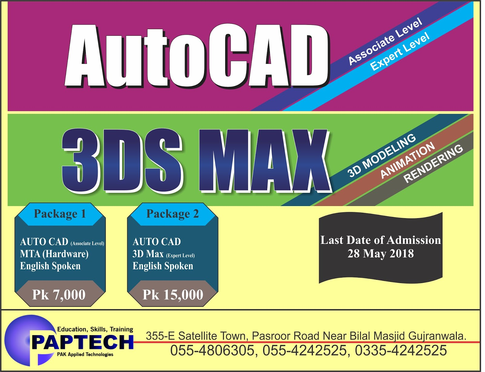 AUTOCAD 3DS MAX Admission Open