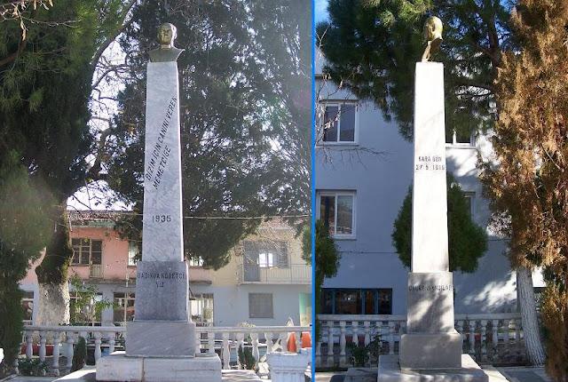 """Değirmendere; Köy Meydanı; Şehitler Anıtı; 1935; """"Kara Gün"""" 27 Mayıs 1919'da Değirmendere Yunan işgali"""