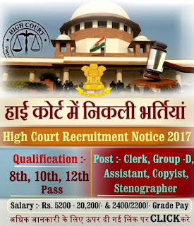 High court of Chhattisgarh Recruitment 2017 - Apply for 17 Driver