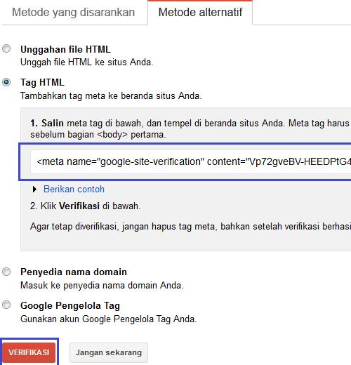 cara mendaftarkan web blog ke google webmaster tool