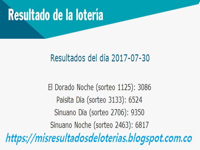 Como jugo la lotería anoche - Resultados diarios de la lotería y el chance - resultados del dia 30-07-2017