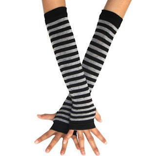 gothic emo striped black and grey arm warmer gloves fingerless