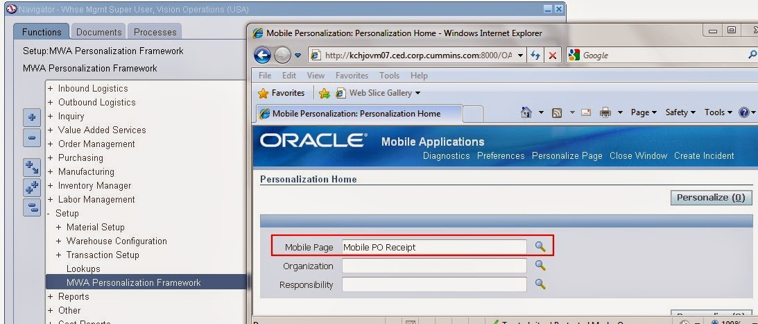 MWA/MSCA Personalizations in Warehouse Management System