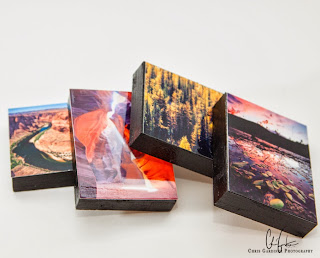 Example of photographer's finished product of hand crafted prints flush mounted to wooden blocks available on etsy.