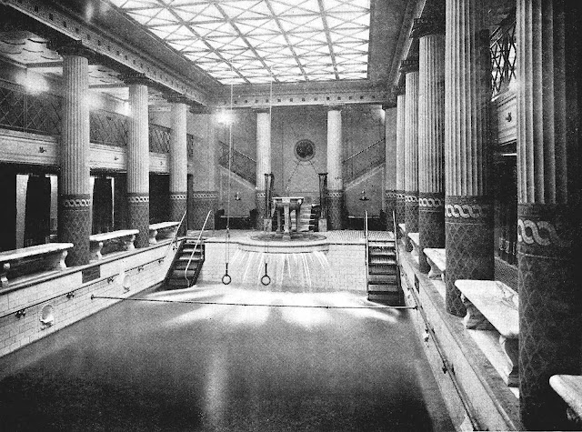 a 1913 cruise ship interior swimming pool photograph