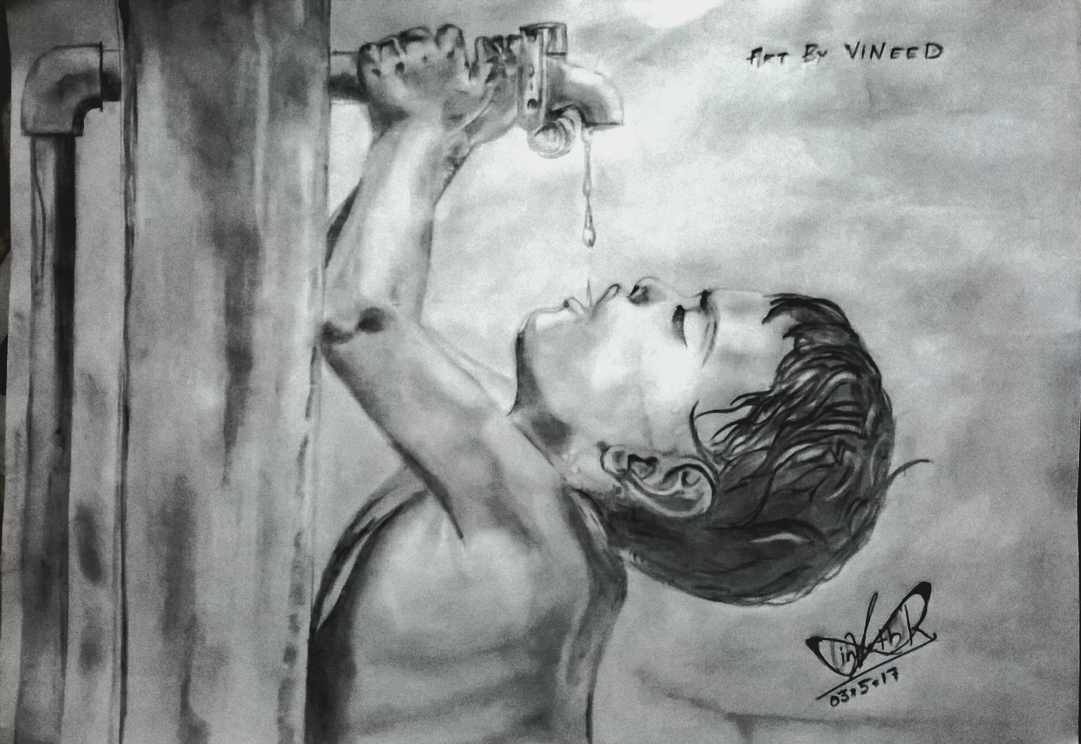 The comming water shortage pencil sketch future art