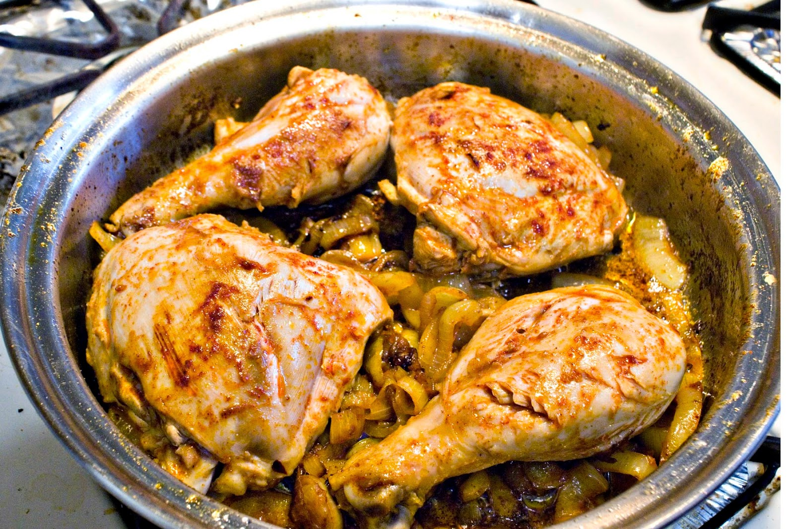 Chicken Leg quarters in sweet paprika broth
