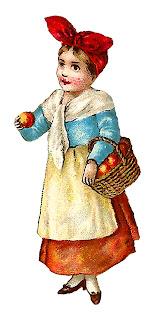 girl victorian farmer apples harvest illustration old clipart